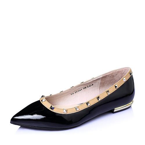 Tata/他她2016春季女鞋漆牛皮革时尚铆钉方跟低跟浅口女单鞋(34,黑色)