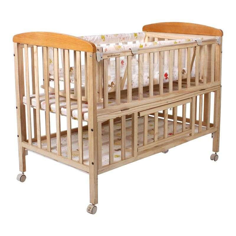 好孩子(Goodbaby)多功能环保实木摇篮婴儿床MC283-H-J311 原木色