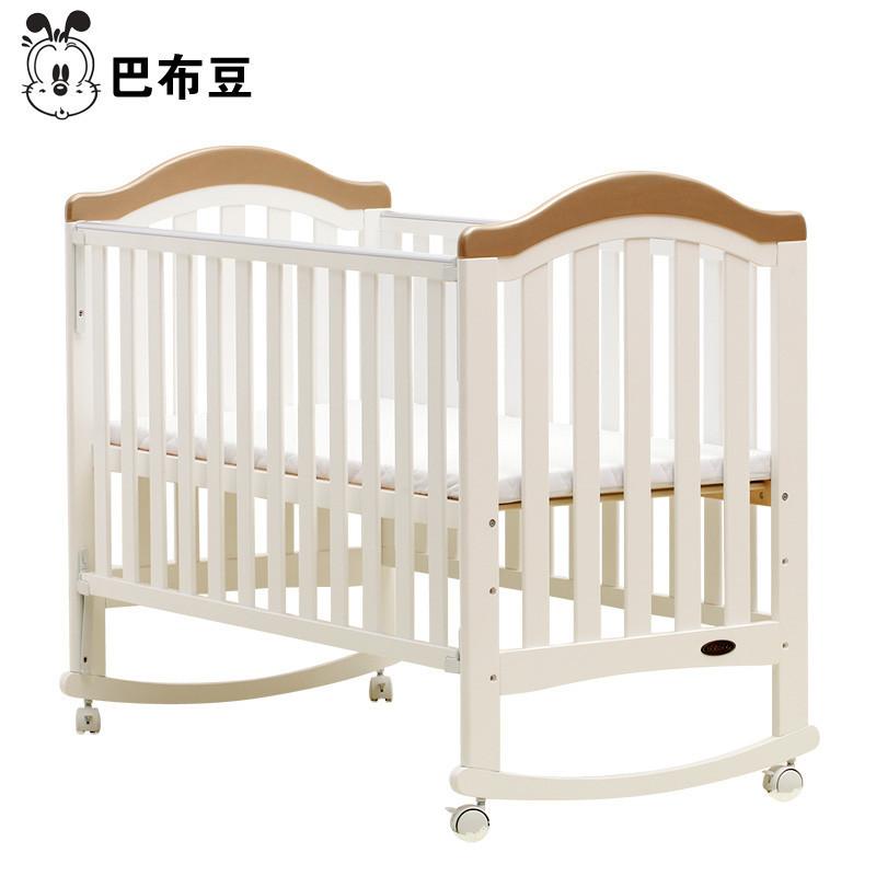 巴布豆婴儿床实木带滚轮儿童床游戏床摇篮床
