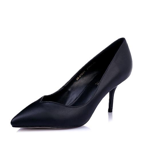 Belle/百丽2016年春黄漆牛皮时尚优雅鞋跟尖头女单鞋(34,黑色)