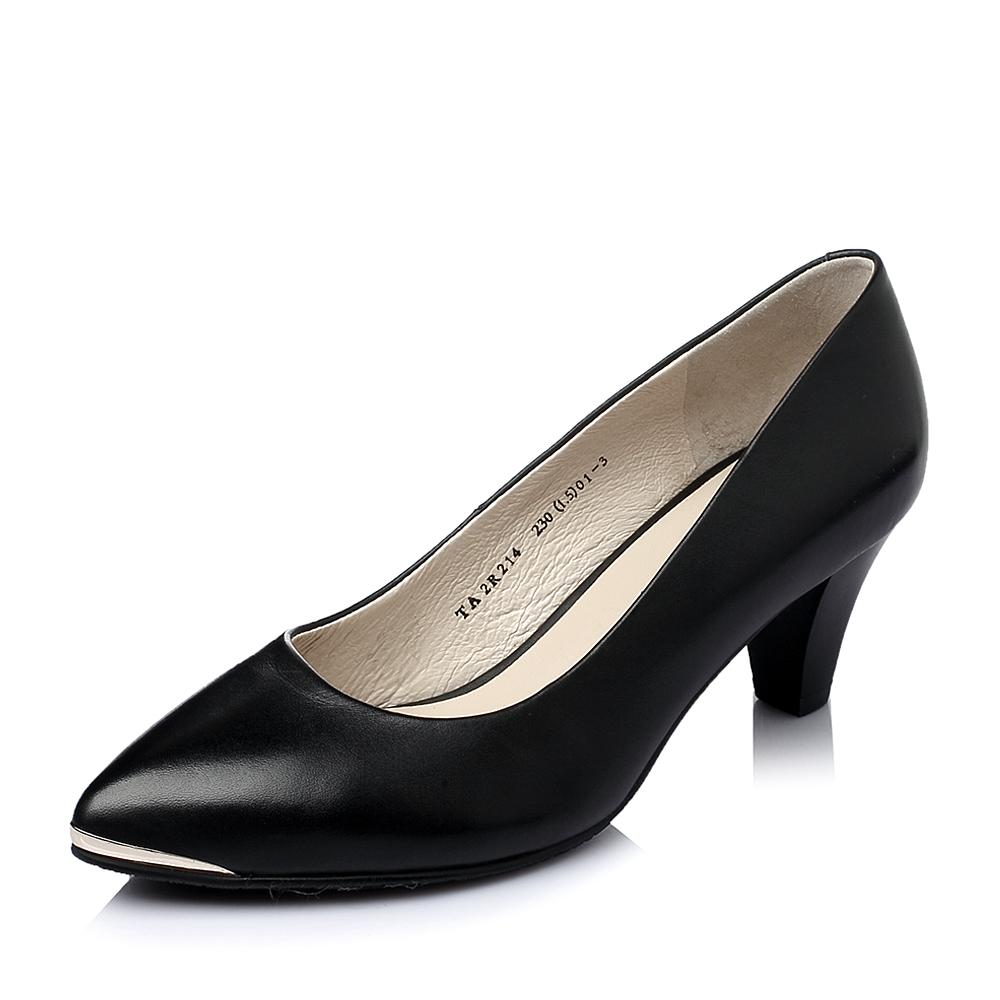 Tata/他她春季专柜同款小牛皮中跟浅口女单鞋