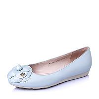 Tata/他她2016年春季珠光羊皮浪漫甜美坡跟浅口女单鞋(34,蓝色)