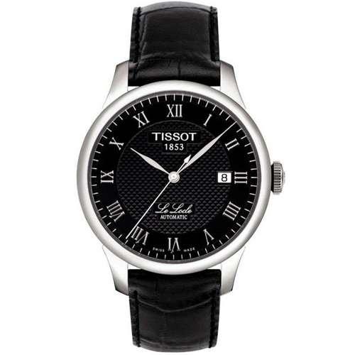 天梭TISSOT手表力洛克机械男表皮带手表(黑色)