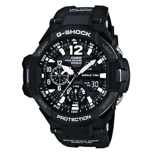 卡西欧手表G-SHOCK系列航空3G防护防水运动男表(黑色)