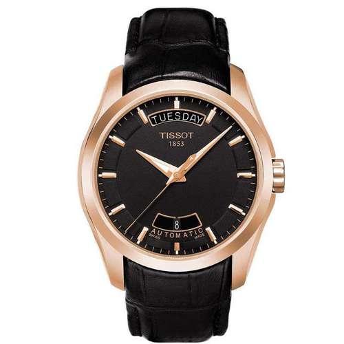 Tissot天梭手表库图系列男士手表皮带自动机械男表(黑色)