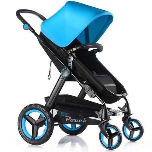 Pouch婴儿推车高景观避震推行轻便可坐躺可折叠P69极光版(蓝色)