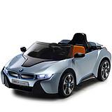 贝瑞佳BeRica儿童电动车儿童宝马i8家长遥控优先的汽车玩具车四轮电动车可坐人 宝宝小孩子童车电动汽车非儿童摩托三轮车 2.4G双电双驱+全新中控+液晶屏+皮座椅蓝(白色)