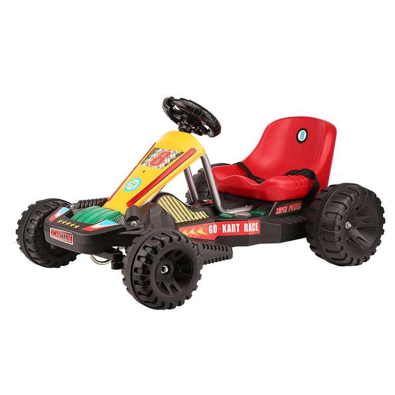快乐牌公司H-5118 儿童可坐可骑四轮玩具宝宝电动四轮车 充电电动四轮车 儿童玩具卡丁车 手控款+红色板凳