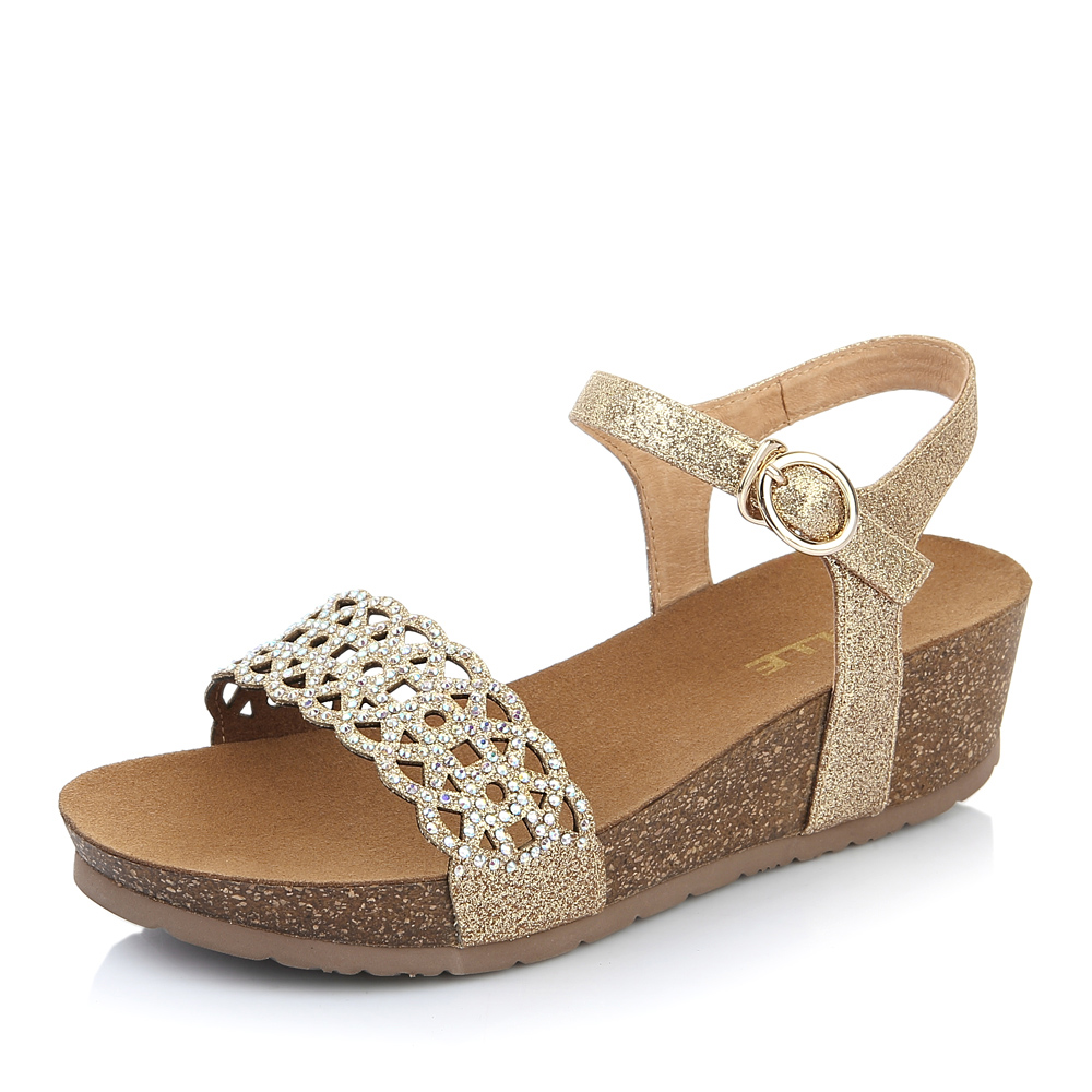 Belle/百丽夏季专柜同款银色亮片布女凉鞋