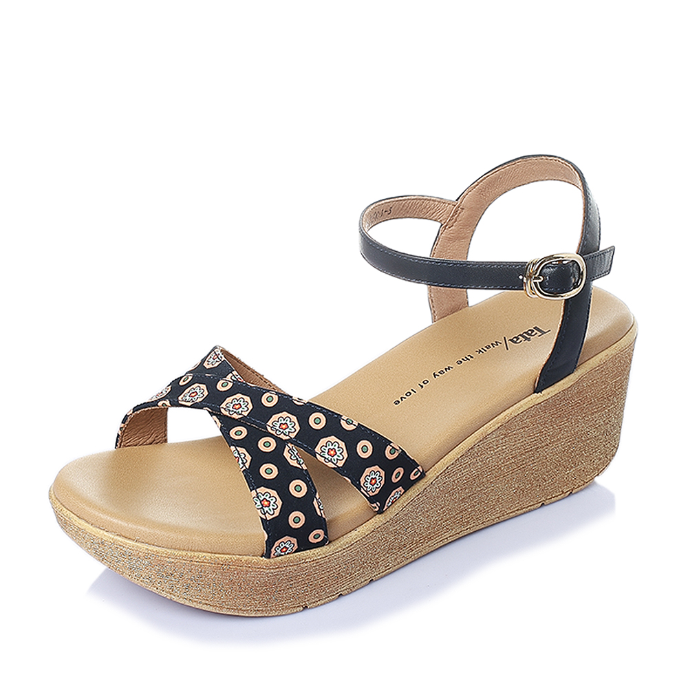 Tata/他她2016年夏季米牛皮清新甜美舒适坡跟女凉鞋