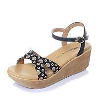 Tata/他她2016年夏季米牛皮清新甜美舒适坡跟女凉鞋(34,黑色)