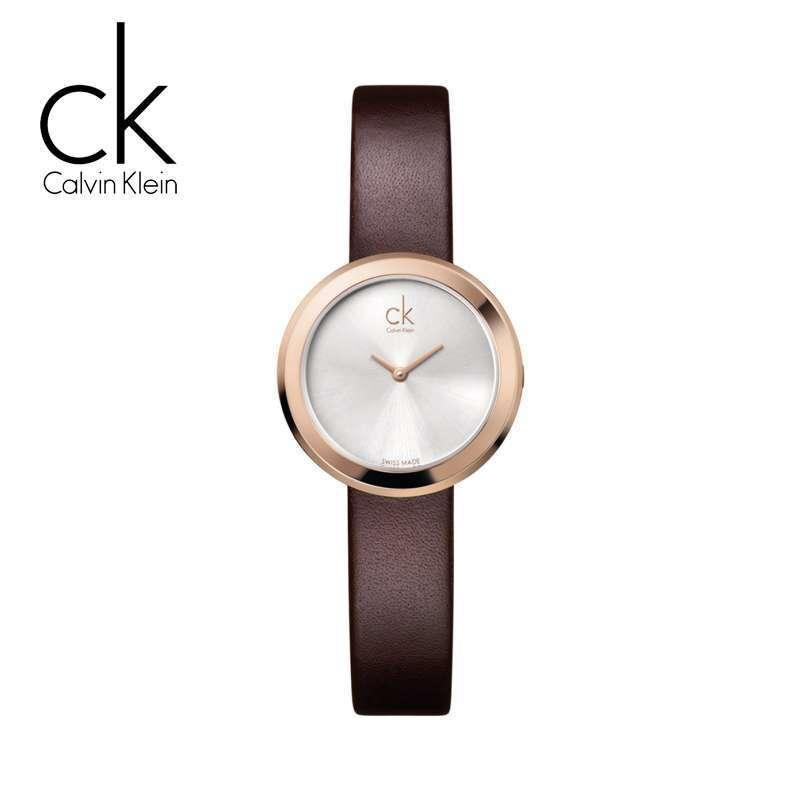 Calvin Klein ck手表 Ladies系列棕色优雅简约款皮带女士石英腕表