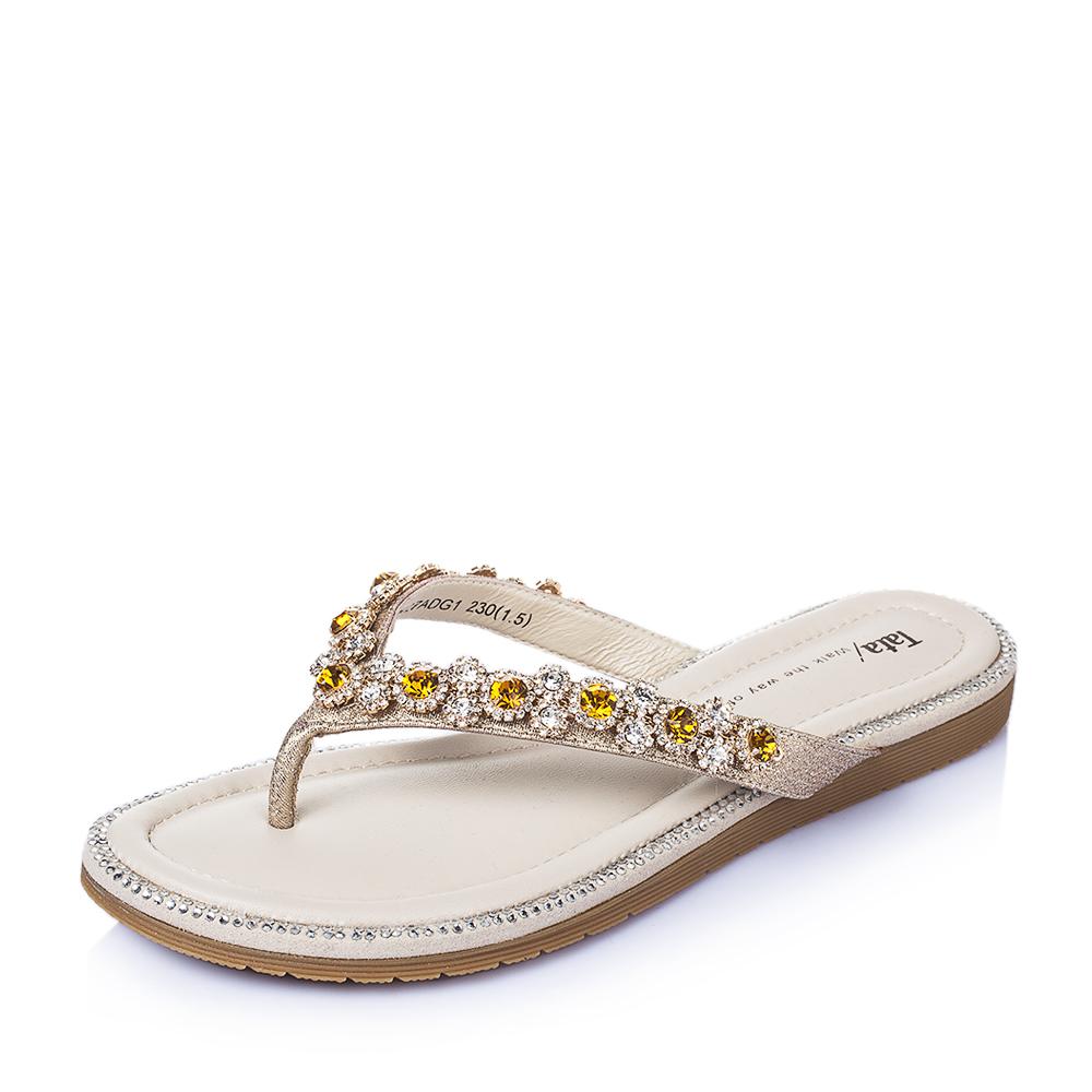 Tata/他她2016年夏季金色PU女鞋