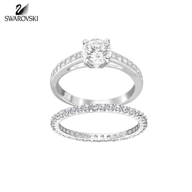 SWAROVSKI施华洛世奇 女士情人节求婚结婚礼物镀白金色两枚I Do我愿意指环婚戒对戒戒指套装