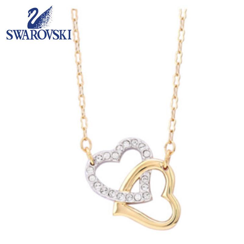 SWAROVSKI施华洛世奇 时尚礼品礼物礼盒心心相印双心女式女士项链吊坠链坠