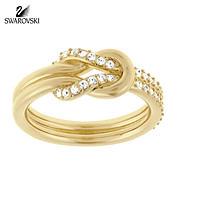 SWAROVSKI施华洛世奇 时尚限量结婚求婚礼品礼物礼盒高档气质高档求婚女式女士女款戒指指环对戒婚戒指环(55号,金色)