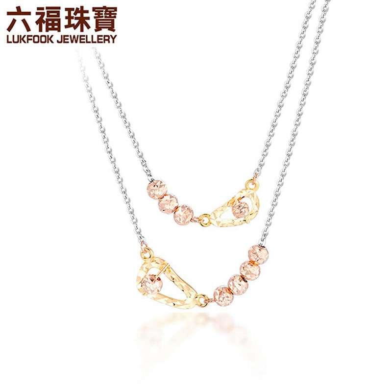 六福珠宝 18K金三色相伴时尚精美项链女款套链