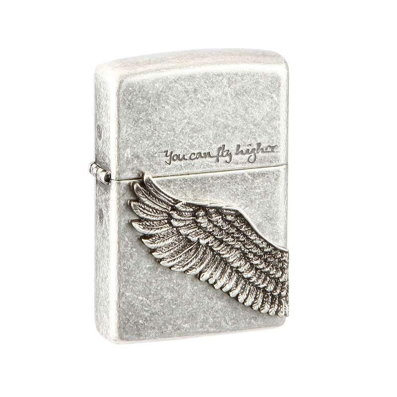 Zippo韩版仿古银天使之翼打火机