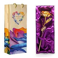 永不凋谢金箔玫瑰花束鲜花速递 情人节礼物创意生日礼品送给女生女朋友老婆闺蜜(金色)