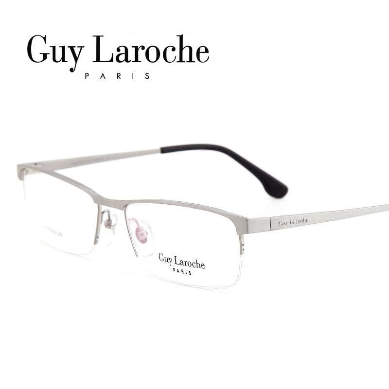 姬龙雪GL0516商务纯钛半框大码男士枪色近视框架眼镜